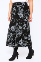 Yours Clothing Grey & Black Floral Print Jersey Maxi Skirt With Panel Detail