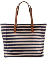 Black Navy and Gold Striped Canvas Beach Bag
