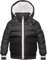 Moncler Rabelais Hooded Wool-Trim Puffer Coat, Gray, Size 4-6