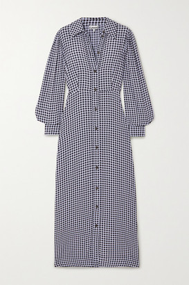 Ganni Gingham Crepe Maxi Shirt Dress - Navy