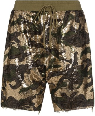R 13 sequinned cotton shorts