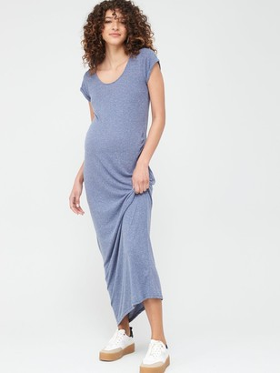 Mama Licious Maternity Nella Jersey Maxi Dress - Blue