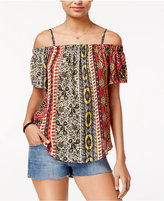 Amy Byer Juniors' Printed Off-The-Shoulder Top