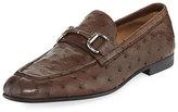 Ermenegildo Zegna Ostrich Leather Bit-Strap Loafer