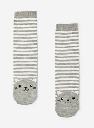 Dorothy Perkins Womens Grey Cat Motif And Striped Socks, Grey