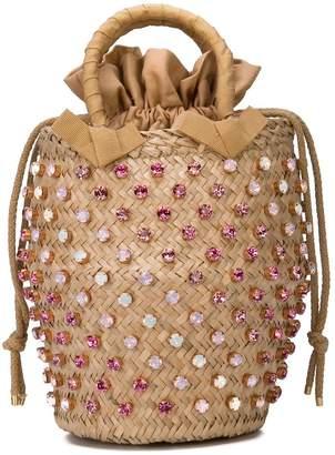 Le Nine Crystal Studded Bucket Bag