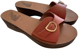 Ancient Greek Sandals Pink Leather Mules & Clogs
