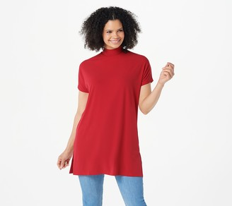 Susan Graver Regular Modern Essentials Liquid Knit Mock-Neck Tunic