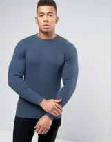 New Look Ribbed Muscle Fit Jumper With Crew Neck In Blue