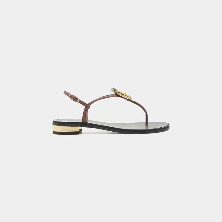 Giuseppe Zanotti Jeweled Thong Flat Sandal