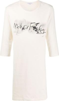 Yohji Yamamoto long slogan print T-shirt