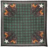 Givenchy Doberman And Tartan Wool Gauze Scarf