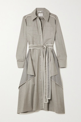 Stella McCartney Leilani Belted Vegetarian Leather-trimmed Wool-flannel Shirt Dress - Gray
