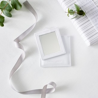 The White Company Leather Compact Mirror, White, One Size