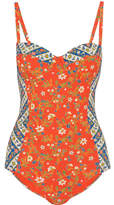 Tory Burch Batik Floral-print Underwired Swimsuit - Papaya