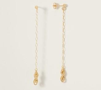 Italian Gold Infinity Knot Linear Drop Earrings, 14K Gold