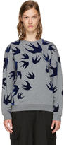 McQ Grey and Navy Swallows Sweatshirt