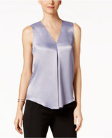 Kasper Satin V-Neck Shell