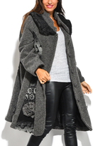 Gray Abstract Wool-Blend Coat - Plus Too