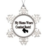 BBCUE Metal Ornaments Custom Christmas Snowflake Ornaments My Mama Wears Combat Boots Tree Centerpiece