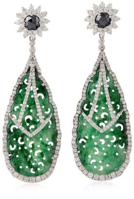 Artisan 18K White Gold Designer Jade Earrings With White And Black Diamonds