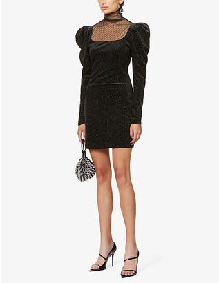 Redemption Balloon-sleeve velvet mini dress