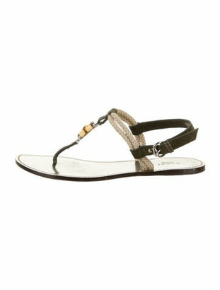Gucci Leather T-Strap Sandals Green