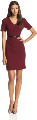 Andrew Marc Women's Short Sleeve V Neck Sheath Dress