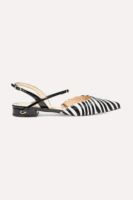 Jennifer Chamandi Vittorio Zebra-print Calf Hair And Patent-leather Slingback Point-toe Flats - Zebra print