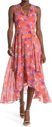 Calvin Klein Floral Handkerchief Hem Midi Dress