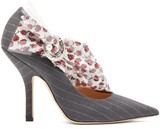 Midnight 00 Miss Pump Rose-print Trim Pinstripe Pumps - Womens - Grey Multi