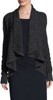Three Dots Cable-Knit Open-Front Cardigan, Charcoal