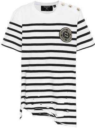 Puma x Balmain striped cotton T-shirt