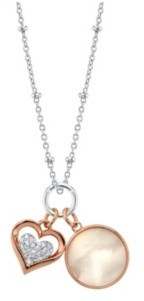 Unwritten Cubic Zirconia Heart And Mother Of Pearl Pendant Rose Gold Two Tone Fine Plated Silver Necklace