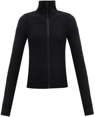 Bottega Veneta Zip-through Ribbed Wool-blend Sweater - Black