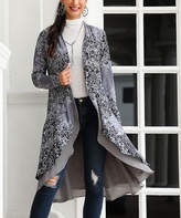 Reborn Collection Women's Open Cardigans Gray - Gray & Black Paisley Drape-Front Open Cardigan - Women & Plus