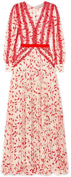 Self-Portrait SelfPortrait - Crescent Guipure Lace-trimmed Pleated Printed Chiffon Maxi Dress