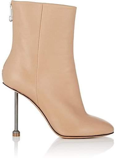 Maison Margiela Women's Metal-Heel Leather Ankle Boots - Nudeflesh