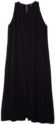 Eileen Fisher Round Neck Maxi Dress (Black) Women's Dress