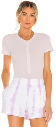 Monrow Short Sleeve Rib Henley Bodysuit