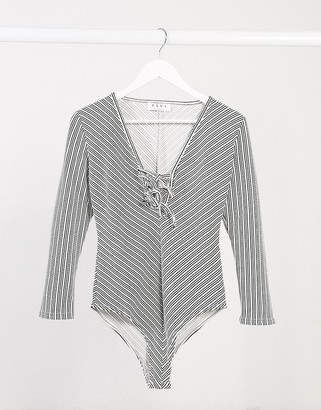 ELVI lace up bodysuit in stripe