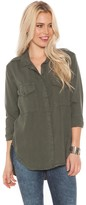 Bella Dahl Flap Pocket Button Down in Frosted Pine