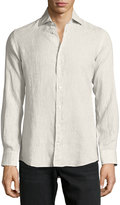 Luciano Barbera Solid Linen Sport Shirt, Tan