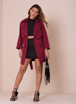 Missy Empire Alessa Wine Trench Coat