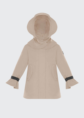 Moncler Girl's Athelas Pleated Trench Coat w/ Detachable Hood, Size 8-14