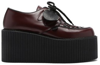 Molly Goddard X Underground Mort Leather Platform Derby Shoes - Burgundy