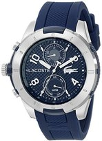 Lacoste Men's 2010761 Tonga Silver-Tone Watch with Blue Silicone Band