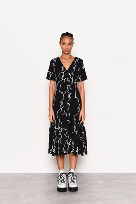 Glamorous Womens **Black Abstract Button Dress By Black