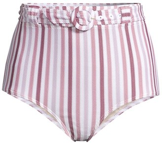 Peony Swimwear Belted High Waisted Striped Bikini Bottoms