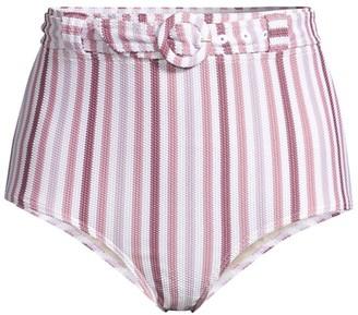 Peony Swimwear Belted High Waisted Striped Bikini Bottoms